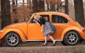 girl outdoors, stiletto, skirt, red lipstick, model, old car