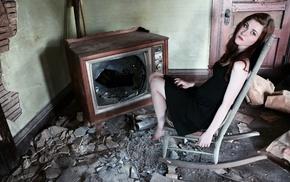 model, ruin, room, girl