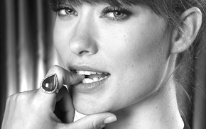 closeup, face, looking at viewer, Olivia Wilde, celebrity, finger on lips