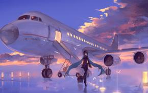 birds, Vocaloid, anime girls, lights, twintails, Hatsune Miku