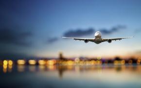 sunset, Japan, passenger aircraft, bokeh, Boeing, blurred