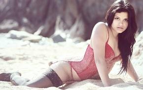 stockings, model, girl, sand