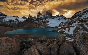 mountain, nature, sunset, landscape, snowy peak, clouds