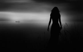 monochrome, mist, shrubs, landscape, girl, boat