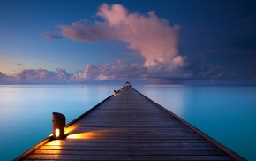 sunrise, nature, Maldives, lamps, horizon, pier