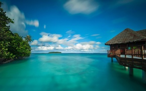 turquoise, Maldives, water, beach, bungalow, summer