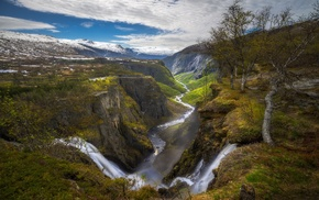 nature, river, clouds, Norway, waterfall, landscape