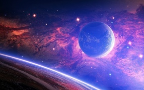 stars, space art, space, planet