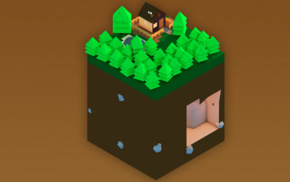 house, mountain, low poly, isometric