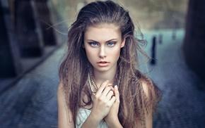 face, blue eyes, girl, brunette, portrait, model
