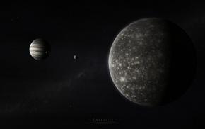 stars, space, Callisto, Jupiter, moon, planet