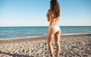 holding boobs, tattoo, bikini, model, sand, sea