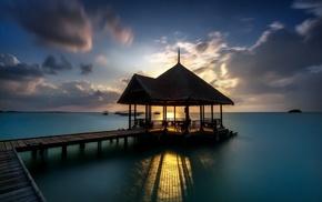 sea, sunlight, coast, pier, landscape, long exposure