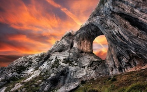 nature, sunset, cliff, rock, landscape, rock formation