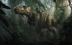 artwork, fantasy art, dinosaurs