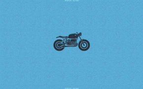 blue background, motorcycle, minimalism