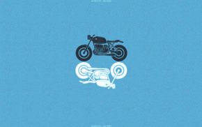 motorcycle, blue background, minimalism