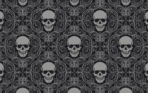 skull, monochrome, texture, symmetry, digital art
