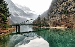 bridge, water, lake, forest, mist, landscape