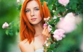 freckles, model, portrait, girl, redhead, face