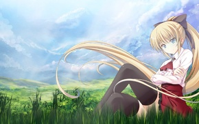 grass, anime girls, blonde, ponytail, sky