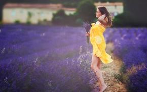 brunette, towel, girl outdoors, girl, field, flowers