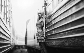 model, blonde, train, girl, monochrome, vehicle