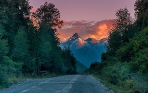 Chile, clouds, sunset, Patagonia, landscape, road