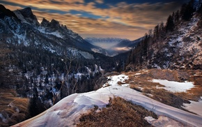 Italy, sunrise, nature, valley, fall, mountain