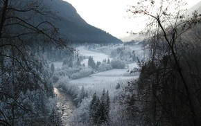 winter, mountain, landscape, river, trees, valley