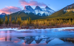 snowy peak, sunset, Canada, clouds, trees, forest