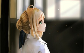 green eyes, Saber, anime girls, bangs, blonde, looking back