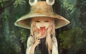trees, bangs, solo, Moriya Suwako, anime girls, Touhou