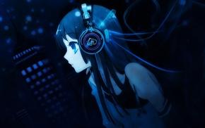 headphones, K, ON, Akiyama Mio, anime, anime girls