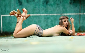 sideboob, strategic covering, topless, Angela Sousa, brunette, girl outdoors
