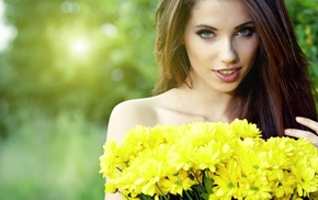 yellow flowers, depth of field, bare shoulders, flowers, strategic covering, open mouth
