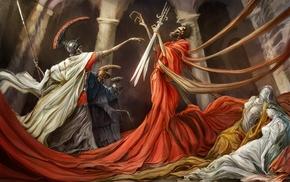 fabric, drawing, fantasy art, death, skull, Roman