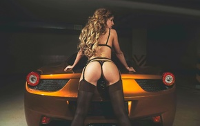 car, black stockings, black lingerie, girl, ass, Ferrari