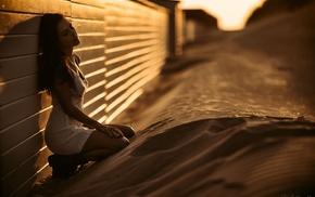 girl, sand, model, closed eyes
