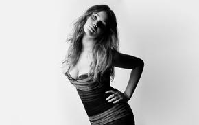 Jennifer Lawrence, cleavage, monochrome, girl, simple background, celebrity