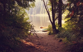 reflection, lake, forest, boat, trees