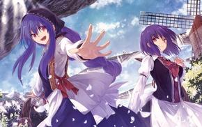 windmills, purple hair, Hinanawi Tenshi, Nagae Iku, Touhou