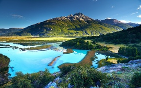 landscape, shrubs, turquoise, Patagonia, nature, summer