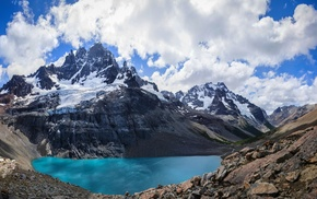 landscape, Andes, lake, summer, snowy peak, nature