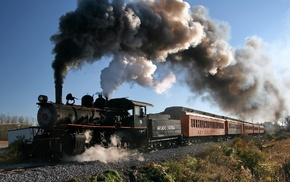 plants, USA, New York state, men, train, smoke