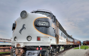 train, clouds, USA, rail yard, railway, horse