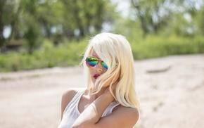 model, portrait, blonde, Jaci Janae, girl with glasses, face