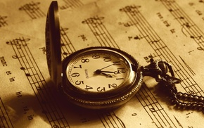 clocks, paper, musical notes, sepia, vintage