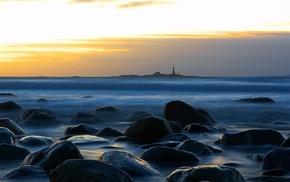 sunset, lighthouse, rock, sea, beach