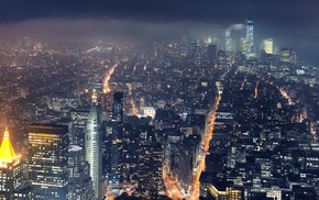 cityscape, New York City, mist, lights, city, skyscraper